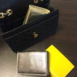 ひとつあると便利♪ 牛革三つ折りミニ財布☆ ゴールド・ブロンズ・イエロー
